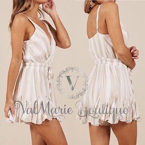ValMarie Pants - HERE! Creamy beige and white ruffle romper